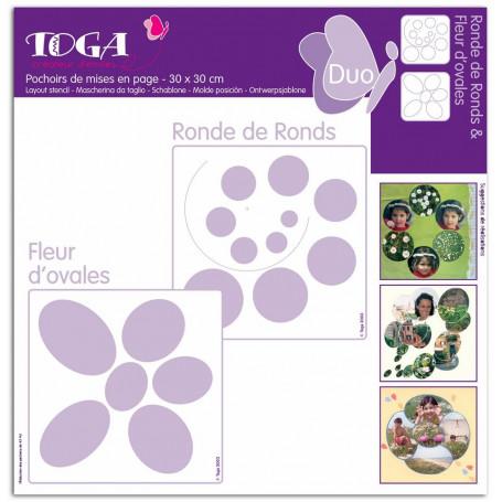 Pochoirs de mises en page Duo Ronde de Ronds et Fleur d'ovales 30x30 cm - Toga