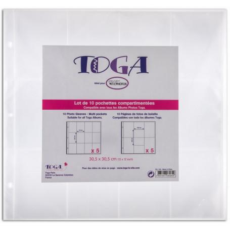 Lot de 10 pochettes transparentes compartimentées 30,5x30,5cm nr 1- Toga