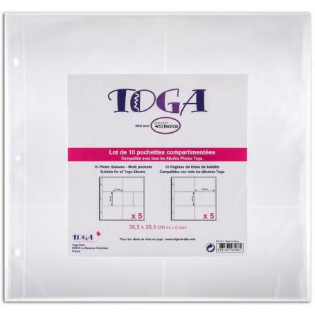 Lot de 10 pochettes transparentes compartimentées 30,5x30,5cm nr 2- Toga
