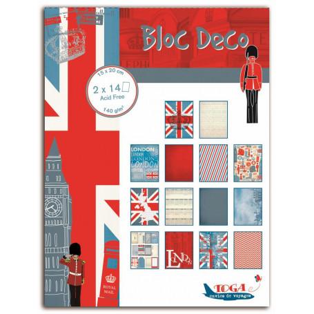 Set de papier Bloc Déco Londres 15x20cm 28f - Toga