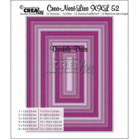 Dies Crea-Nest-Lies 52 XXL Double Dots Rectangles - Crealies