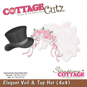 Die Elegant Veil and Top Hat - CottageCutz - Scrapping Cottage