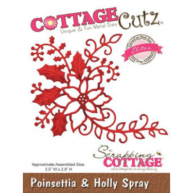 Die Poinsettia & Holly Spray - CottageCutz - Scrapping Cottage