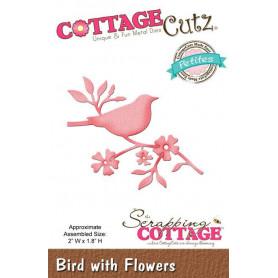 Die Oiseau - CottageCutz - Scrapping Cottage - Die Bird with Flowers