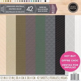 Set de papier 30x30 Embossed Neutrals 42f - Craft Smith