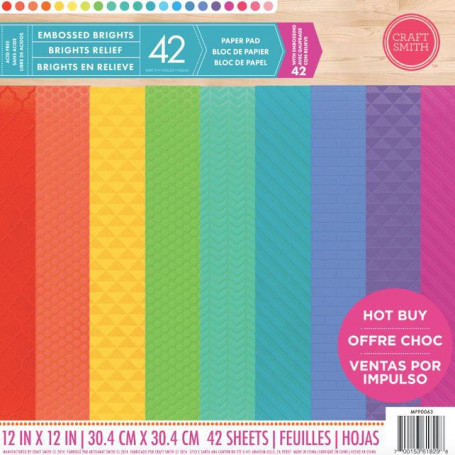 Set de papier 30x30 Embossed Brights 42f - Craft Smith