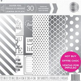 Set de papier 30x30 Silver Foil 30f - Craft Smith