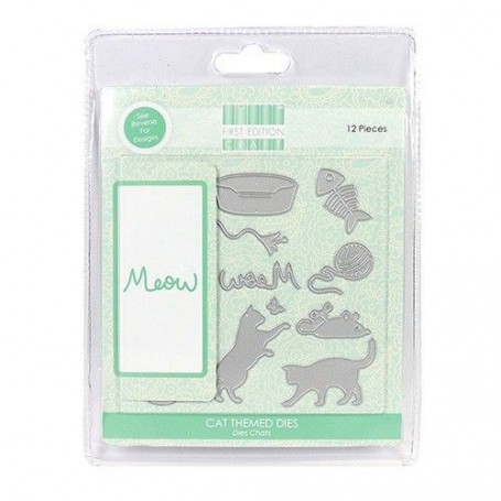 Dies Thème Chats 12 pc - First Edition - Cat Themed Dies