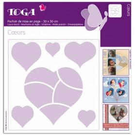 Pochoir de mises en page Coeurs 30x30 cm - Toga