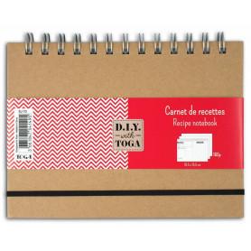 Cahier de recettes Kraft à spirale - 18,5x13,5cm - 160 pages - Toga