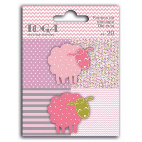 Die-cuts 20 formes découpées Moutons Rose Vert et Gris - Toga