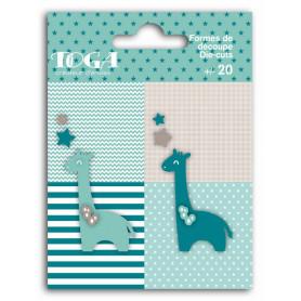 Die-cuts 20 formes découpées Girafes Bleu et Taupe - Toga