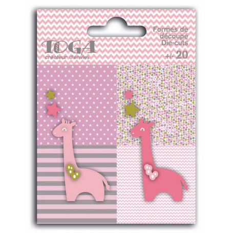 Die-cuts 20 formes découpées Girafes Rose Vert et Gris - Toga