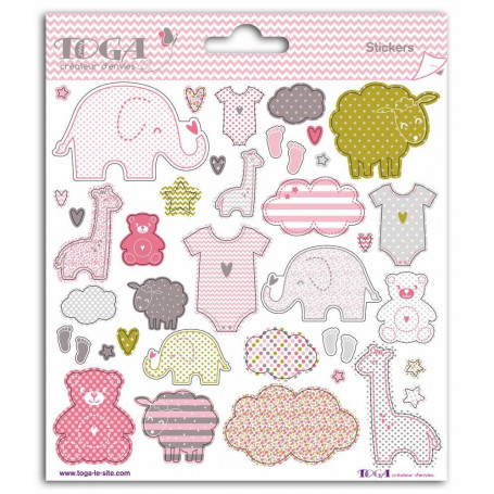 Stickers Naissance fille 2 planches - Toga