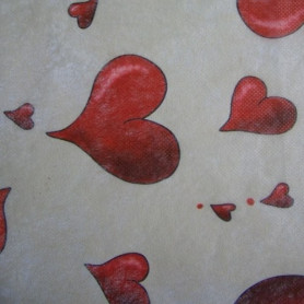 Non-tissé Amour rouge/beige Creapop - Hobbyfun