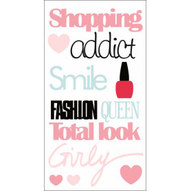 Autocollants epoxy 3D Fashionista Shopping Addict - Artémio