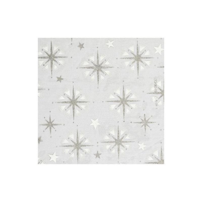 Tissu décoratif Etoiles Argent/Blanc Creapop - Hobbyfun