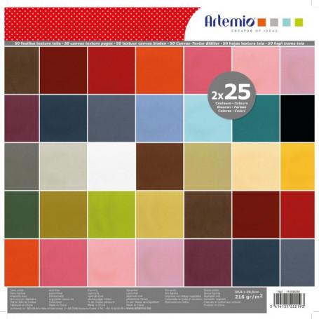 Set de papier 30x30 Texturé 50f–  Artemio