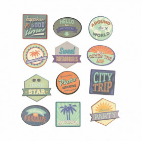 Stickers en bois 12 pcs - Sweet Memories - Artémio