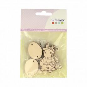 Guirlande en bois lapin et œufs - Artemio