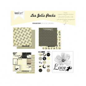 Joli pack Love is all around – kit de scrapbooking – Kesi'art