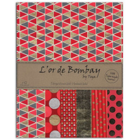 Set de papier A4 Rouge/Corail/Or 6f - L'or de Bombay by Toga