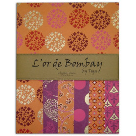 Set de papier A4 Orange/Rose 6f - L'or de Bombay by Toga
