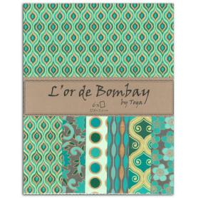 Set de papier A4 Vert/Turquoise 6f - L'or de Bombay by Toga
