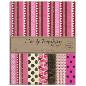 Set de papier A4 Rose/Cerise/or 6f - L'or de Bombay by Toga