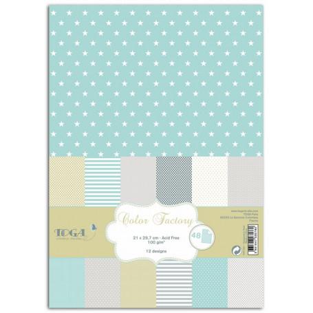 Set de papier A4 Menthe gris amande 48f - Color Factory Toga