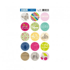 Autocollants ronds Le clos fleuri - Kesi'art stickers