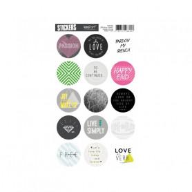 Autocollants ronds Kiss my néon anglais- Kesi'art stickers