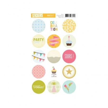 Autocollants ronds Célébration - Kesi'art stickers