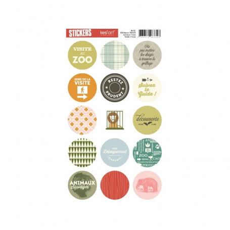 Autocollants ronds Au Zoo - Kesi'art stickers