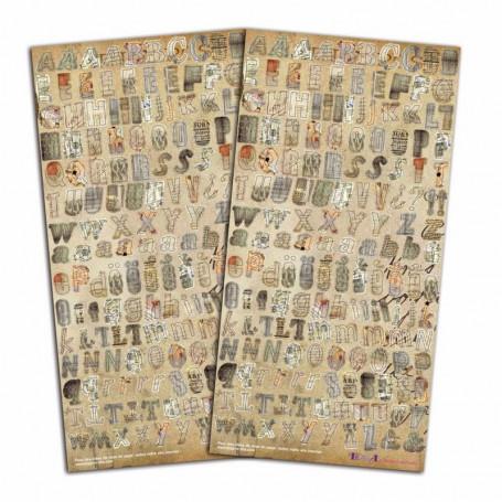 Stickers Alphabet Vintage 2 planches - Toga