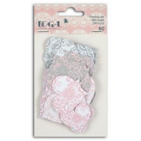 Die-cuts 60 formes découpées coeurs rose gris - Toga