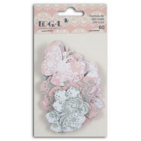 Die-cuts 60 formes découpées papillons rose gris - Toga