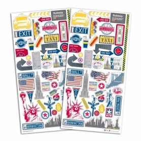Stickers Destination New York 2 planches - Toga