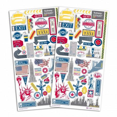 Stickers Destination New York 2 planches - Toga