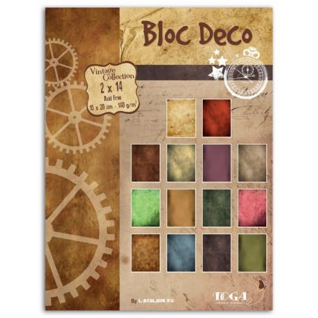 Set de papier Bloc Déco Vintage Doux souvenirs 15x20cm 28f - Toga