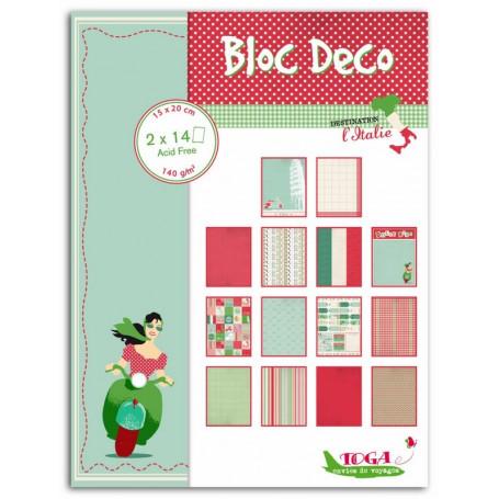Set de papier Bloc Déco Destination l'Italie 15x20cm 28f - Toga