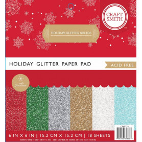 Set de papier 15x15 Holiday Glitter Solids 18f – Craft Smith