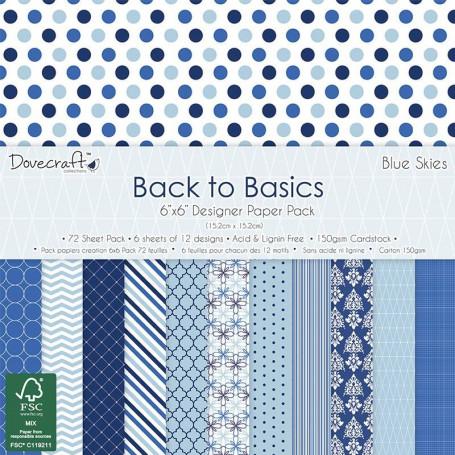 Set de papier 15x15 Back To Basics Blue Skies 72f – Dovecraft