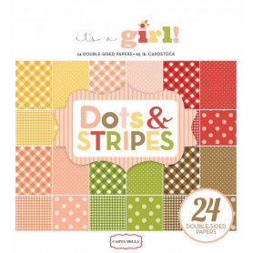 Set de papier 15x15 It's a girl Dots & stripes 24f – Carta Bella