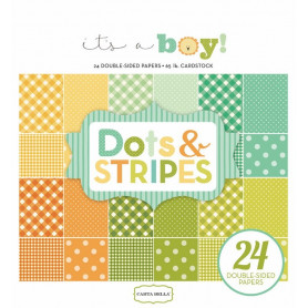 Set de papier 15x15 It's a boy Dots & stripes 24f – Carta Bella