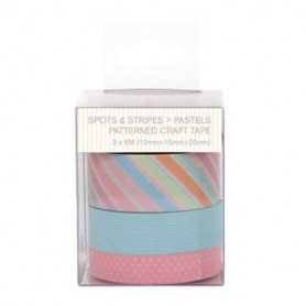 Craft Tape Spots & Stripes Pastels 3x5m - Capsule - Docrafts Papermania