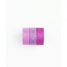 Washi Tape Bling Bling rose pailleté 3 x 3 m - Kesi'art
