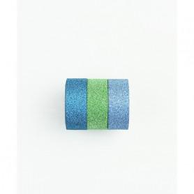 Washi Tape Bling Bling bleu pailleté 3 x 3 m - Kesi'art