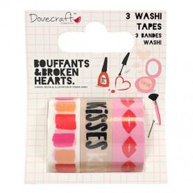 Washi Tape Set Kiss & Makeup 3pc - Dovecraft