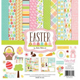Set de papier 30x30 Paques 12f - Echo Park Easter collection kit